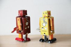 Vintage robot toy tin robot wind up toy in by ArktosCollectibles