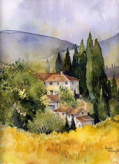 watercolour landscape of a scene in Tuscany Buy this artwork on home decor stationery bags et more. Watercolor Landscape Paintings, Landscape Artwork, Watercolour Painting, Painting & Drawing, Watercolors, City Drawing, Contemporary Landscape, Watercolor Architecture, Landscape Architecture