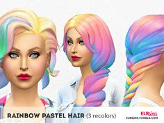 elrsims' [ELR SIMS] Rainbow Pastel Hair (3 non-default recolors)