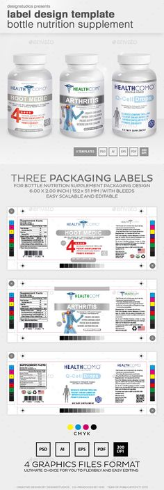 Label Design Template Bottle Nutrition Supplement Print - ingredient label template