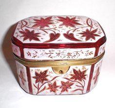 Antique Bohemian Pink Overlay Glass Casket