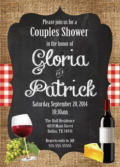Italian Food CHALKBOARD WINE and CHEESE Couples Wedding Shower Red Gingham WIne Bottle Grapes Cheese Black White Bridal Birthday Invitation surprise Italian theme