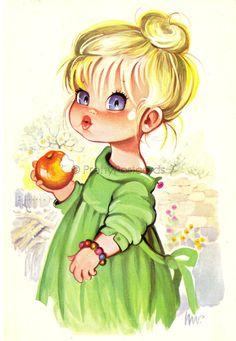 Vintage Illustration Vintage postcard of Sweet Big Eyed Girl by PrettyPostcards Illustration Mignonne, Illustration Girl, Vintage Greeting Cards, Vintage Postcards, Vintage Pictures, Cute Pictures, Art Mignon, Big Eyes, Vintage Children