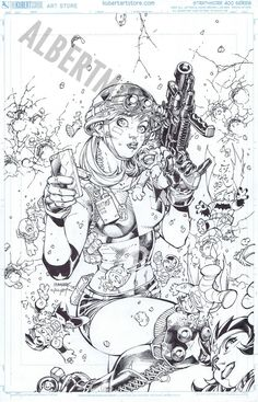 Albert Moy : Original Comic Art - Justice League by Jim Lee