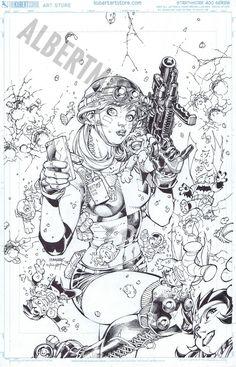 Albert Moy : Original Comic Art - Justice League by Jim Lee
