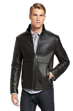 Ostrich Trim 'Cinsky' Leather Jacket by BOSS Black