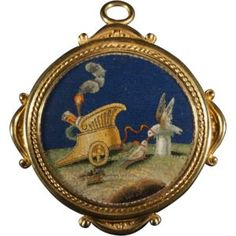 Gold brooch/pendant with micromosaic allegory of love Edwardian Jewelry, Antique Jewelry, Gold Jewelry, Vintage Jewelry, Jewellery, Gemstone Brooch, Mosaic Pieces, Italian Jewelry, Unusual Jewelry