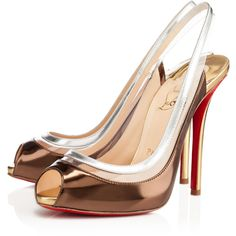 Christian Louboutin Gospell ($895) ❤ liked on Polyvore featuring shoes, pumps, heels, christian louboutin, mordore, sexy high heel shoes, platform pumps, slingback platform pumps, platform shoes and peep toe platform pumps