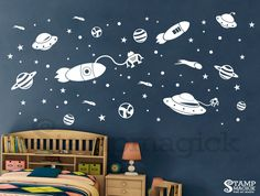 Outer Space Wall Decal   Rocket Vinyl Wall Art Decor Childrenu0027s Room    Spaceship Planet Stars
