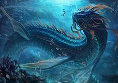 Draw Creatures ArtStation - Arga, The Wisdom of the Deep, Nathaniel Himawan - Creature Drawings, Animal Drawings, Sea Serpent, Fantasy Beasts, Cool Dragons, Fantasy Kunst, Creature Concept, Monster Art, Sea Monsters