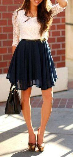 Navy + Lace Chiffon Dress ♥