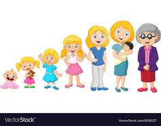 Generations woman Stages of development woman vector image on VectorStock Preschool Family, Family Crafts, Preschool Classroom, Preschool Crafts, Kindergarten, Kids Room Art, Art For Kids, Human Life Cycle, French Teaching Resources