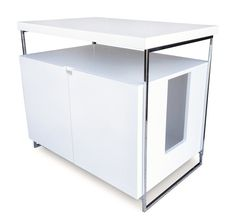 Large Cat Litter Box Hider Finish: White ** Read more at the image link. (This is an affiliate link and I receive a commission for the sales) Modern Cat Furniture, Pet Furniture, Cat Litter Box Enclosure, Automatic Litter Box, Best Litter Box, Cages For Sale, Tiny Loft, Litter Box Covers, Swinging Doors