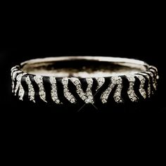 Silver and Black Zebra Bangle Bracelet with Rhinestones. Pretty
