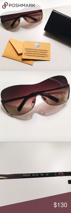 """Fendi Sun 5209 Collection Palladium Sunglasses Beautiful EUC sunglasses by Fendi. Shield style and semi-rimless. Bottom rim wraps around the side to form the Fendi """"F"""" at the hinge. Comes with original glass case and authentication card. One tiny scratch on the left temple, otherwise in amazing condition! Materials are metal and palladium. Fendi Accessories Sunglasses"""