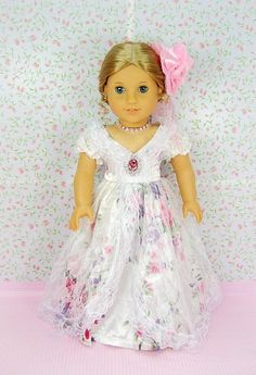 "** RUBY ROSE ** Satin & Lace Floral Design Ballroom Gown with Rhinestone Necklace & Flower Hairpin~ Fits 18"" American Girl Dolls by *** The RUBY ROSE COLLECTION *** made by usatoystore, http://www.amazon.com/gp/product/B005JAEI4U/ref=cm_sw_r_pi_alp_qV9uqb0QZ6EYH"