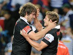 Steyn and Lambie celebrating