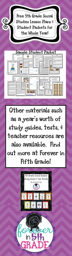 FREE lesson plans and student packets for the whole year!  Find out more at Forever in Fifth Grade!