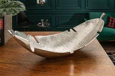 Dizajnová miska strieborná 62cm. Shelf Arrangement, Elegant, Gold Leaf, Decoration, Hammock, Decorative Bowls, Leaves, Outdoor Decor, Furniture