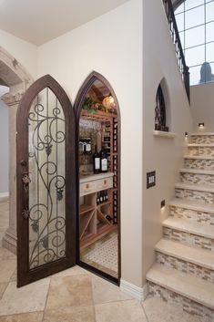 Design-Build Wine Cellar Phoenix with Climate Controlled Wine Cellar with Custom Iron Door.