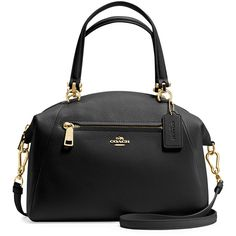 Coach Prairie Leather Satchel Bag (5,620 MXN) ❤ liked on Polyvore featuring bags, handbags, black, zipper handbag, real leather handbags, leather satchel handbags, leather satchel and leather handbags