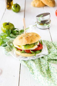 tomato mozzarella focaccia sandwich