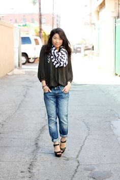 Love the look, scarf, jeans and comfy shirts!