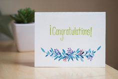 congratulations Card, handcrafted card, greeting card by AmoryPapel on Etsy
