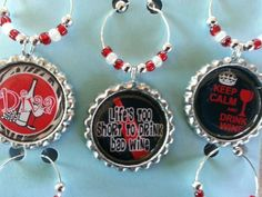 Wine Charms a Set of 5, these fun wine charms are get for parties, girls night out, girls weekend parties, pick your theme...beach themes, wine diva themes, sports themes, vegas themes or mix and matc