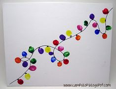 Fingerprint string of Christmas lights: Cute idea for home made Christmas cards for kids