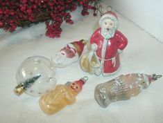 4 VINTAGE SANTA AND SNOWMAN CHRISTMAS ORNAMENTS, STOCKING, GOEBEL, 2 TIER, TREE