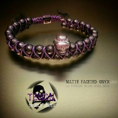 Double bracelet with zirconia spacers silver skull bead..handmade forhim or forher