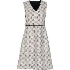 Derek Lam Short Dress ($1,470) ❤ liked on Polyvore featuring dresses, white, sleeveless v neck dress, mini dress, white tube dress, white v neck dress and zipper dress