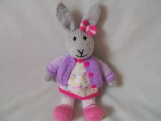 Hand Knitted Rabbit Flora the Dressed Bunny Toy by littledazzler