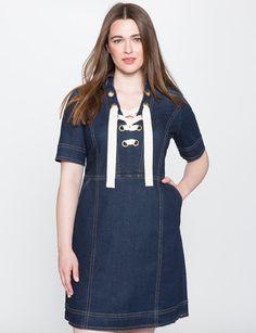 Lace Up Denim Dress from eloquii.com