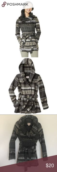 [Mossimo] Aztec Printed Wool Wrap Jacket | Small Aztec/Tribal/Navajo inspired print in a pea coat style hood jacket. Features faux wool material, side pockets, 4 button closure and belted waist. Includes extra button in case of replacement! This jacket is warm and very flattering. Can be worn with denim skinnies, dresses or rompers. No flaws and only worn several times. Mossimo Supply Co Jackets & Coats
