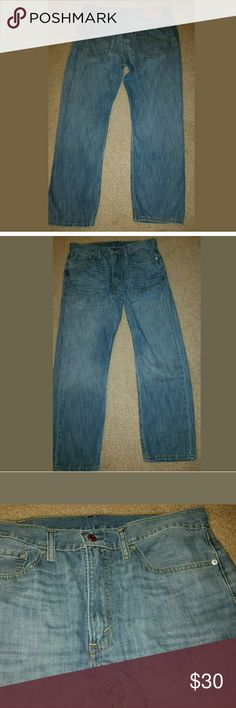 Men's Levi Denim Light Blue Jeans Straight 505 Men's Levi Denim Light Blue Jeans Straight 505 36 x 30   LB Levi's Jeans Straight