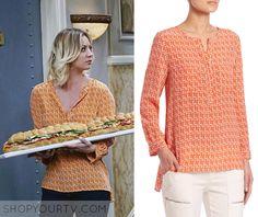 Big Bang Theory: Season 9 Episdoe 21 Penny's Orange Print Blouse