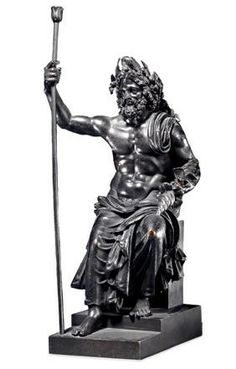"Small bronze copy of the huge ""Statue of Zeus by Phidias"" for temple of Zeus at Olympia"