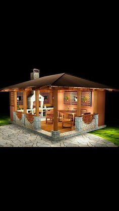 Backyard Sitting Areas, Backyard Seating, Backyard Patio Designs, Backyard Landscaping, Backyard Pavilion, Outdoor Pavilion, Backyard Buildings, Outdoor Kitchen Patio, Outdoor Kitchen Design