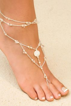 white color Wedding foot jewelry