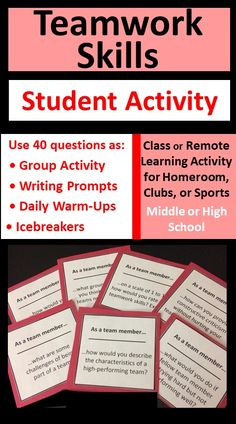 Teamwork card set helps students be effective team members, reflect on group dynamics, and improve overall performance. Use questions as an engaging group activity, warm-up tool, or writing prompts for classroom, homeroom, club, or sports team situations. Includes 40 cards plus blank templates for student-, teacher-, or coach-generated questions. Can compete orally, on paper, or via an electronic device. Character Education Lessons, Teamwork Skills, Group Dynamics, Student Teacher, Class Activities, High School Students, School Projects, Writing Prompts, Learning