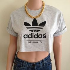 Adidas Originals Short Sleeved Grey Charcoal Crop Top Tee T Shirt Hipster