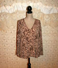 Brown Floral Print Top Slinky Drape Knit Top Boho Babydoll Top Fall Long Sleeve V Neck Bohemian Print Blouse Large XL Womens Clothing