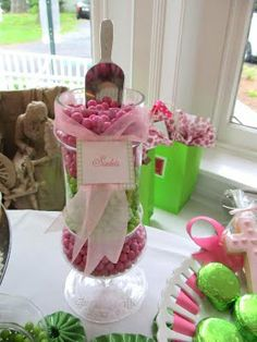 pink and green candy buffet preppy