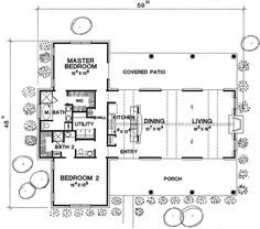 Country Style House Plan - 2 Beds 2 Baths 1588 Sq/Ft Plan #472-11 Main Floor Plan - Houseplans.com