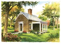 Garden Cottage Plan - Tiny Home Plans Under Square Feet - Southernliving. The ideal guest cottage is an inviting version of old farm cabins and country cottages. 540 square feet 1 bedroom and 1 bath See Plan: Garden Cottage Southern Living One Bedroom House Plans, Cottage House Plans, Garden Cottage, Best House Plans, Tiny House Plans, Cottage Living, Coastal Cottage, Cottage Homes, Cottage Chic