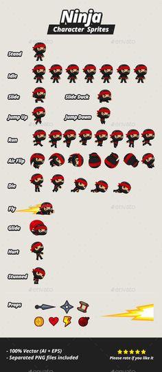 Character Sprites - Ninja - Sprites Game Assets