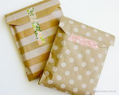 Papercookie — A reminder to myself to stamp all those paper bags I've accumulated. Cheap, cute gift bags!