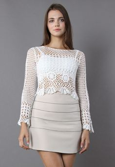 Romance of Knitted Cropped Top - Retro, Indie and Unique Fashion